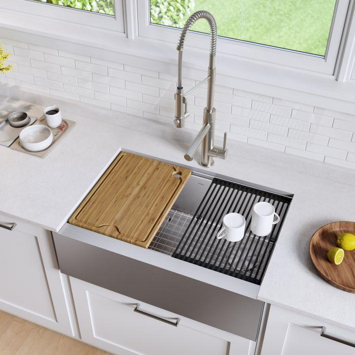 Workstation 33 Apron Front 16 Gauge Stainless Steel Single Bowl
