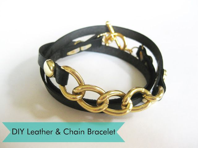 DIY Leather and Chain Wrap Bracelet