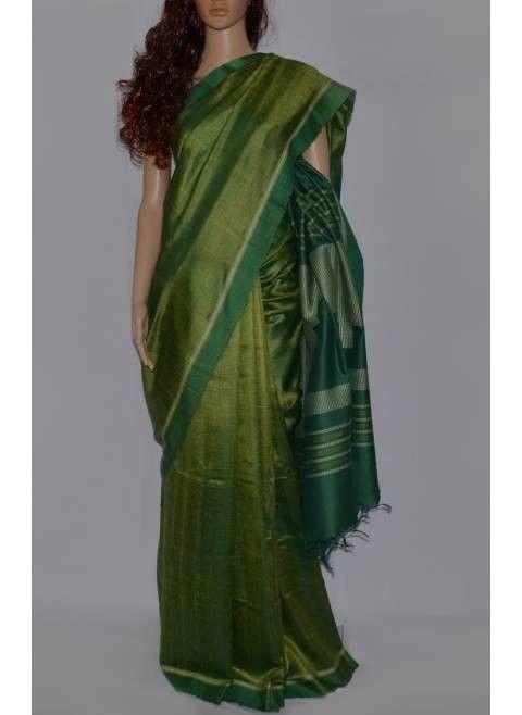 Green bhagalpur tussar silk saree