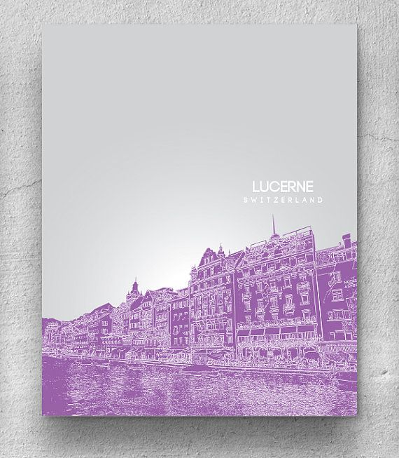 Lucerne City Skyline Art / Travel City Art Poster / Modern Home Decor / Any City or Landmark