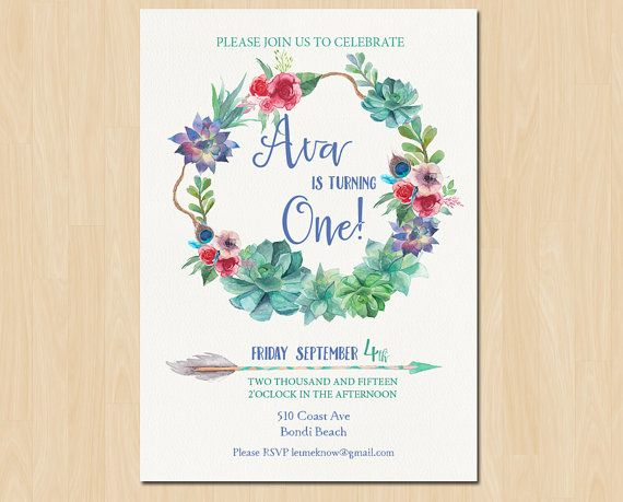 Pretty Floral Water Color Birthday Invitation . This invitation is perfect for any age, can be a childs first birthday, a 30th Birthday or even