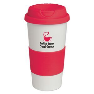 16 Oz. Commuter Tumbler This Commuter Tumbler makes handling hot drinks easy when on the go. The double-wall insulated 16 oz. design features a silicone comfort grip with matching lid. This product fits most auto cup holders and is BPA-free. This product ships assembled and is reusable and recyclable. Ideal for school events, corporations, company picnics and sports sponsorships.