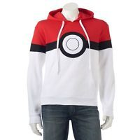 Men's Pokemon Pokeball Pullover Hoodie, Size: Small, Red