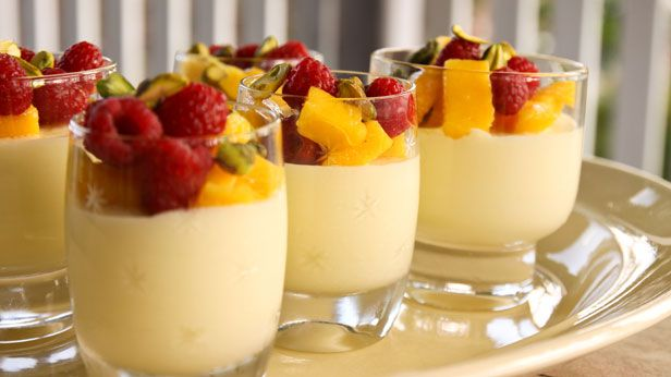 White chocolate & buttermilk mousse with mangoes & raspberries by Alana Lowes. Combines 3 of my most favourite ingredients!