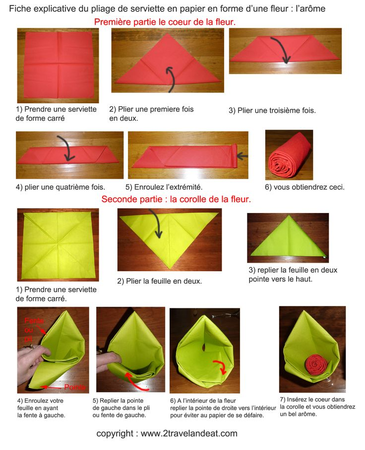 17 best images about pliages serviettes on pinterest - Plier serviette de table ...