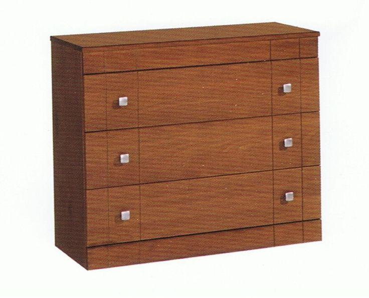 Comoda tres cajones. Medidas 80x95x40cm. Fabricado en madera maciza alistonada de pino. Barnizado en color nogal. Se trata de uno Kit de muy fácil montaje y con instrucciones claras.