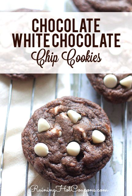 Chocolate White Chocolate Chip Cookies Recipe #foodie #recipe  http://www.raininghotcoupons.com/chocolate-white-chocolate-chip-cookies-recipe
