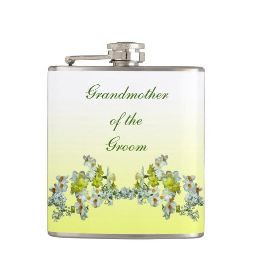 Yellow Floral Wedding Grandmother of the Groom Hip Flask