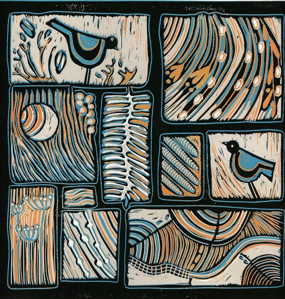 original linocut Soulmates 2 birds and abstract by artcanbefun, $42.00