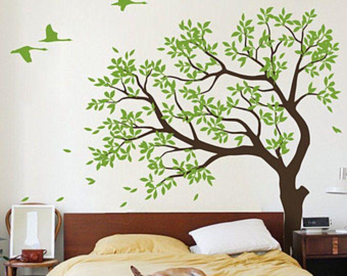 Etiqueta de vinilo de árbol grande, vivero vinilo pared etiqueta, etiqueta de la pared de árbol, golondrinas mural de pared de vinilo, etiqueta engomada - MM027