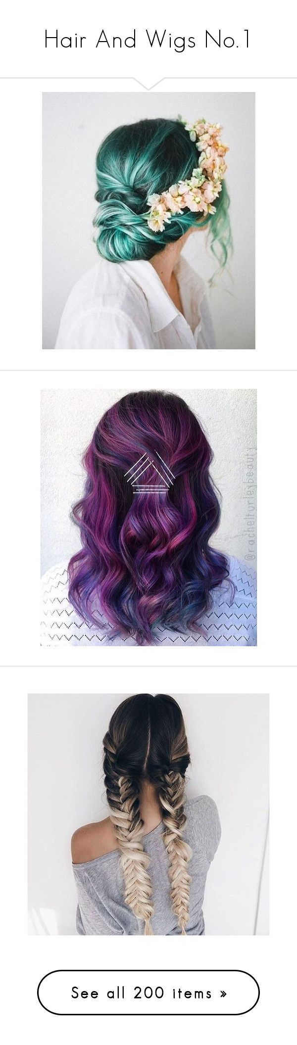 """Hair And Wigs No.1"" by maddie-kate2002 ❤ liked on Polyvore featuring beauty products, haircare, hair color, hair, hairstyles, hair styles, hair styling tools, hairstyle, backgrounds and short hair accessories"