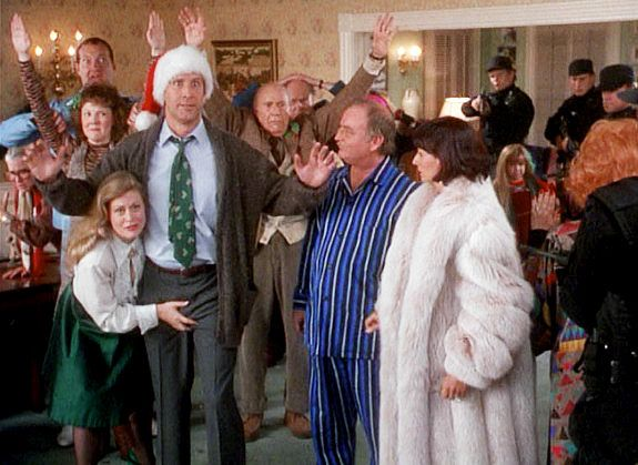 Christmas Vacation.  Todd: Hey Griswold. Where do you think you're gonna put a tree that big?   Clark: Bend over and I'll show you.   Todd: You've got a lot of nerve talking to me like that Griswold.   Clark: I wasn't talking to you.
