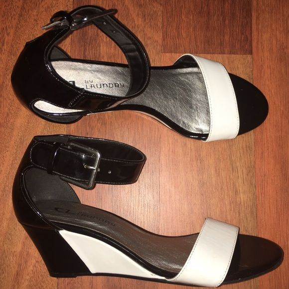Chinese Laundry - Black and White Wedges These wedge heels match perfectly with everything from jeans to dresses. Has adjustable ankle straps and 2.5 inch heels. Used only once and in excellent condition. Chinese Laundry Shoes Wedges