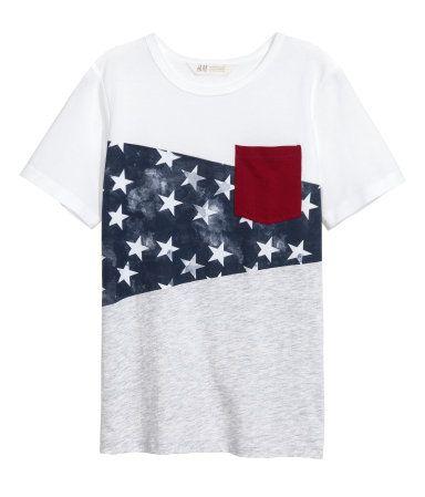 T-shirt med tryk | Hvid/Gråmeleret | Børn | H&M DK