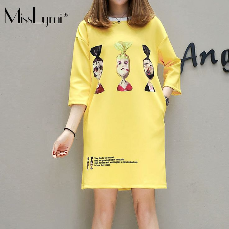 XXXL 4XL 5XL Plus Size Women T shirt Dress 2017 Summer Cartoon Funny Print O-neck Three Quarter Sleeve Loose Casual Yellow Dress