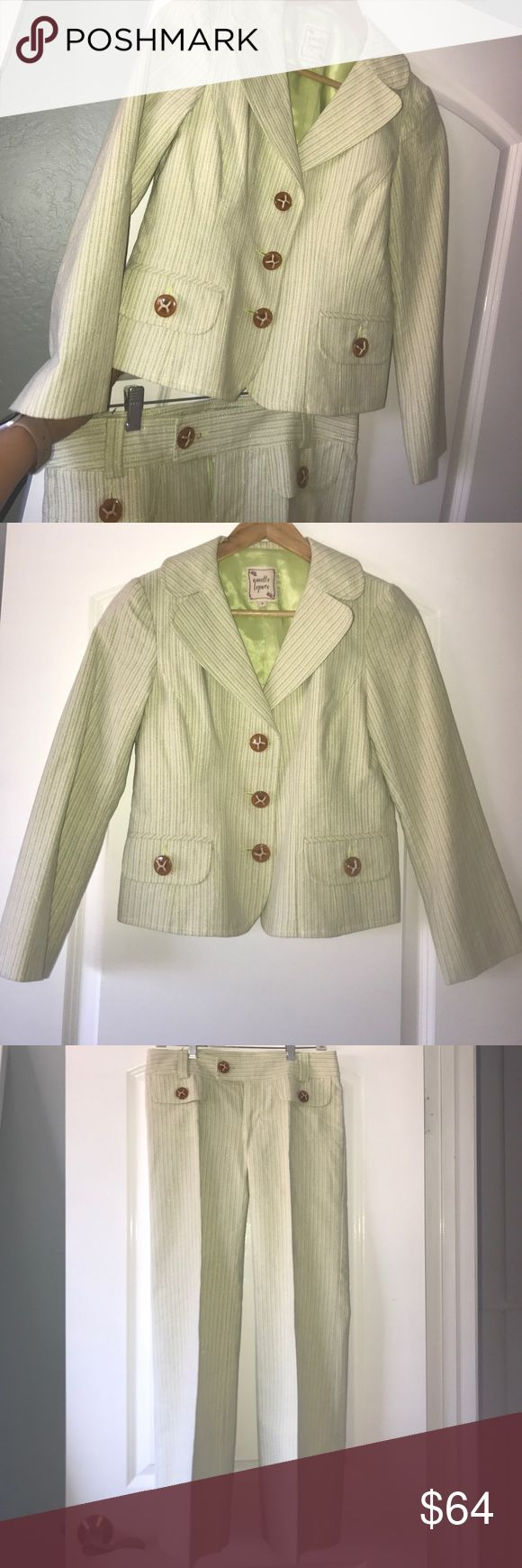 Nanette Lepore summer suit Light Lime Green summer suit, jacket and pants, 97% cotton. Dry clean only. This suit looks better in real life, it is in good condition, and it is very flattering. Size 2 petite Nanette Lepore Pants Straight Leg