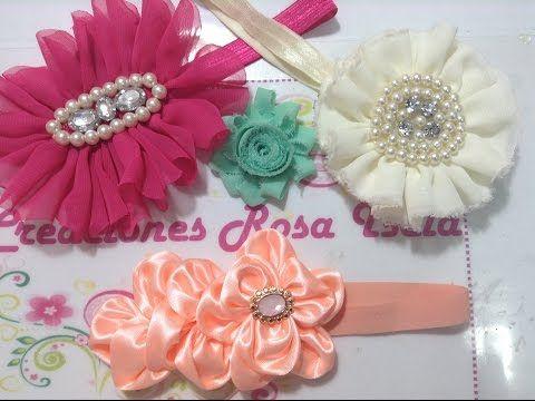 Flores de tela en tiara Creaciones Rosa Isela VIDEO No. 236 - YouTube