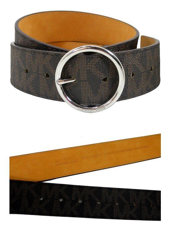 $79 - Michael Kors Womens Belt, Signature Logo Wide Belt - Brown #michaelkors