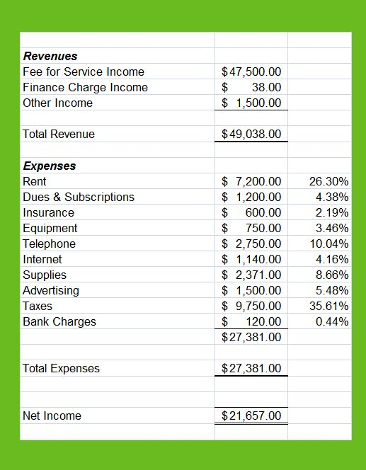 daycare profit and loss statement template