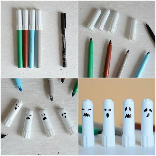 Hallooween craft for kids: how to make ghosts with caps markers