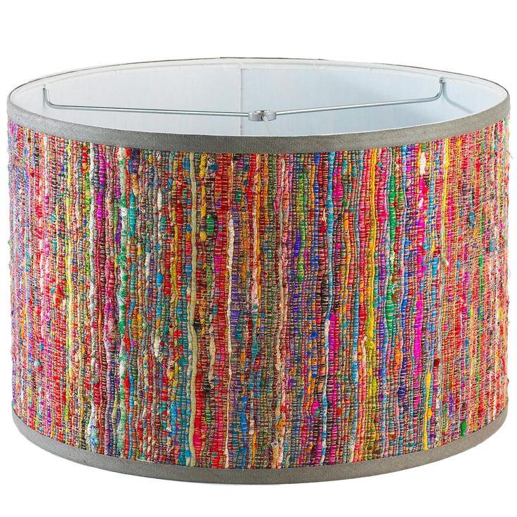 "15"" Rainbow Raw Silk Drum Lamp Shade"