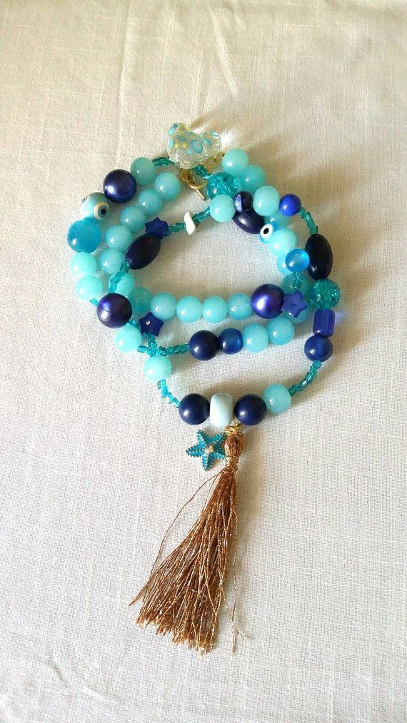 Long blue necklace/summer/boho/ Free combined by KaterinakiJewelry