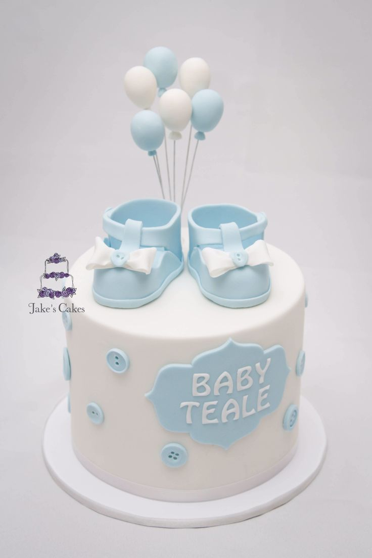 Baby Shower cutting cake with handmade sugar decorations
