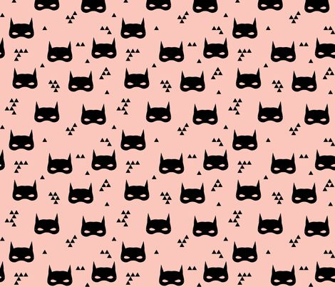 cat mask // pink girls super hero kids triangle baby print fabric by andrea_lauren on Spoonflower - custom fabric