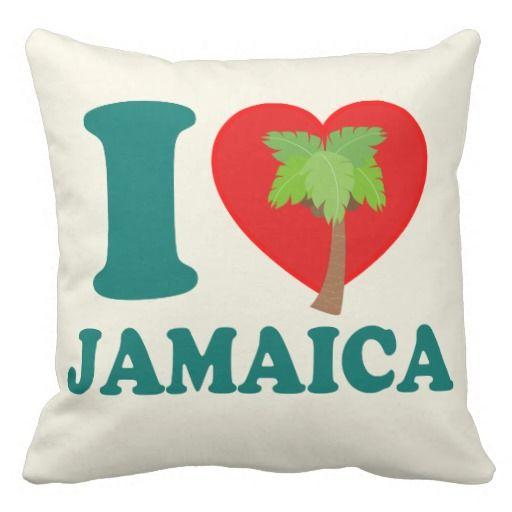 I Love Jamaica Pillow by Carib Love Designs. #ILoveJamaica #Jamaica #Home #Pillow #CaribLoveDesigns #Zazzle