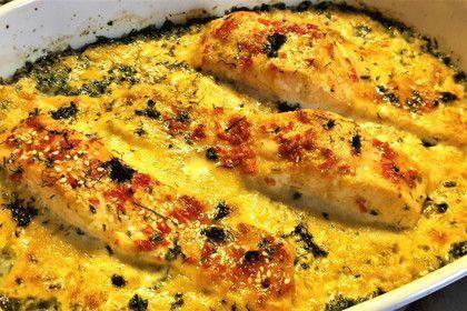 Süß-scharfer Lachs auf Spinat mit Sahnesauce und Honigkruste 1