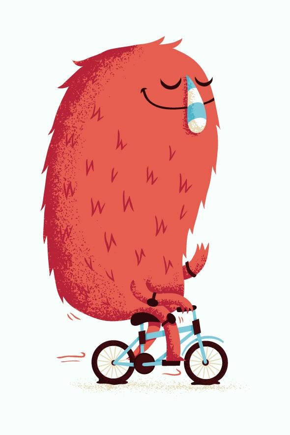 Silly monster illustration with nice textures by Abbott - this monster is so cute and peaceful!