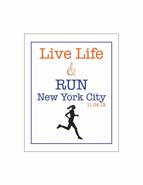 live life and RUN New York City marathon by LiveLifeAndLove, $10.75