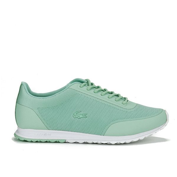Lacoste Women's Helaine 116 3 Running Trainers (7.495 RUB) ❤ liked on Polyvore featuring shoes, sneakers, green, round cap, lace up shoes, round toe sneakers, lacing sneakers and green sneakers