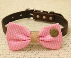 Pink Dog Bow Tie, Bow tie attached to brown dog collar, Burlap, Wedding accessory, Gift, Cat bow, charm, Christmas gift, Live, Love, Laugh