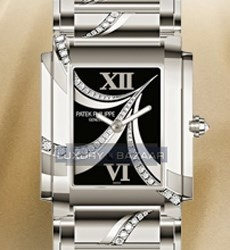 Patek Philippe Ladies Twenty-4 (WG-Diamonds / Black / WG Bracelet)