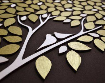 3D Wedding guest book alternative tree wood Custom unique