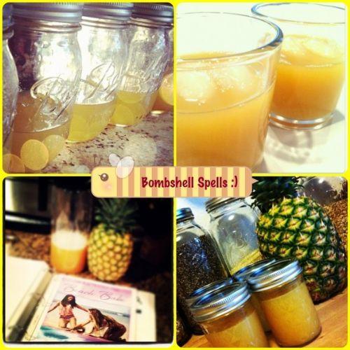 Bombshell Spell Pineapple Juice Recipe 1/2 cup Pineapple Juice 1 tsp apple cider vinegar 1 tsp organic honey