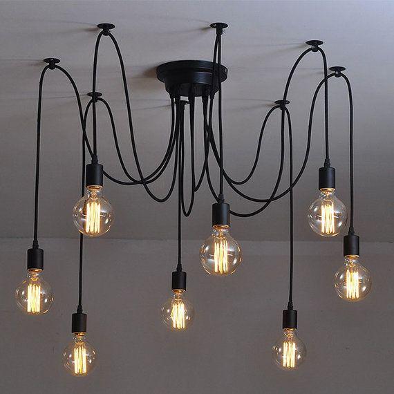 Vintage Industrial 8 Pendants Spider Chandelier <b>Pendant light</b> ...