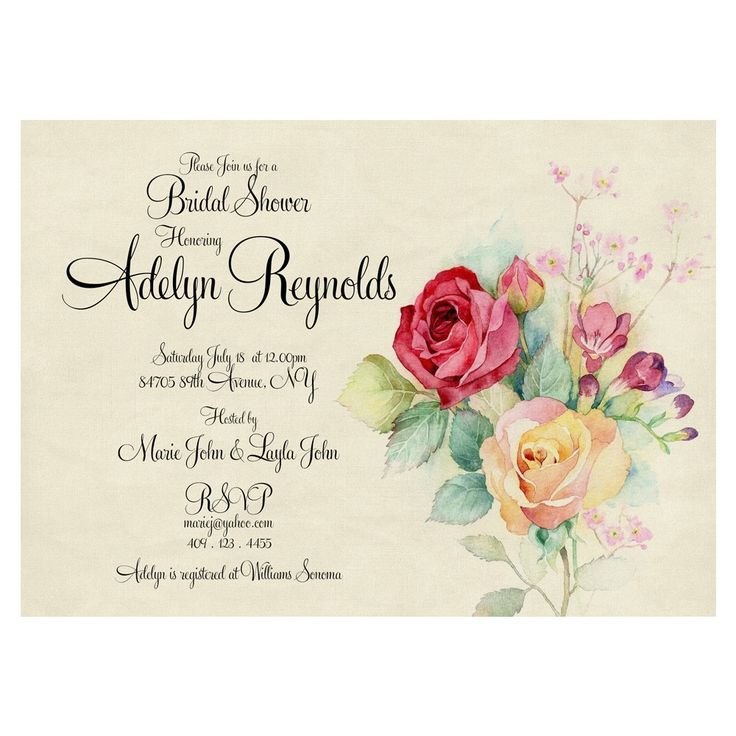 Cottage Chic Bridal Shower Invitation - Vintage Bridal shower, watercolor bridal shower, blush bridal shower via Printable Wedding Invitations by Divine Charm Digital. Click on the image to see more!