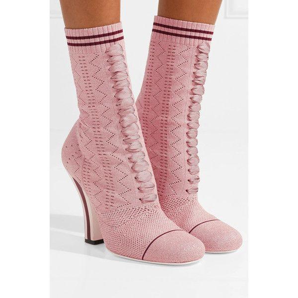 Fendi Metallic stretch-knit sock boots ($1,025) ❤ liked on Polyvore featuring intimates, hosiery, socks, stripe socks, metallic socks, striped socks and fendi
