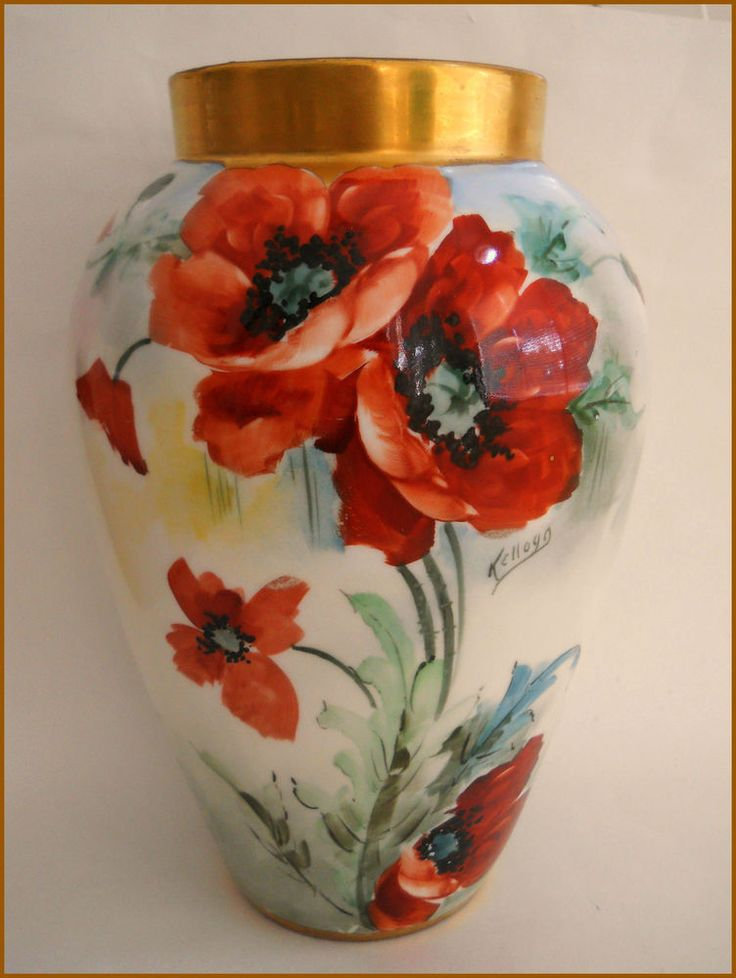 """ANTIQUE B&CO LIMOGES PORCELAIN LARGE VASE/ HAND PAINTED POPPIES ~11.25"""" Signed   Pottery & Glass, Pottery & China, China & Dinnerware   eBay!"""