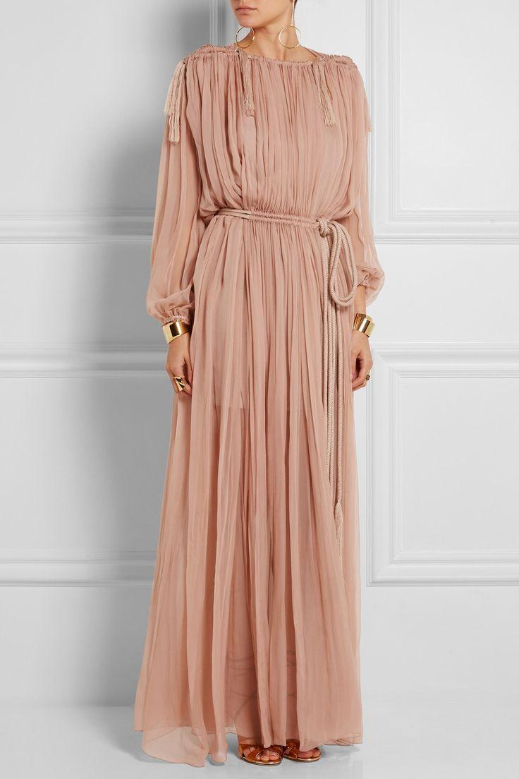 Lanvin | Robe longue en mousseline de soie plissée | NET-A-PORTER.COM