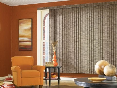 Textured Vertical Blinds In A Living Room Vertical