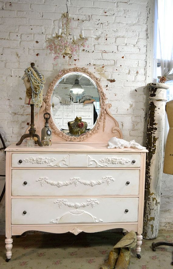 Painted Cottage Chic Shabby Pink French Dresser By