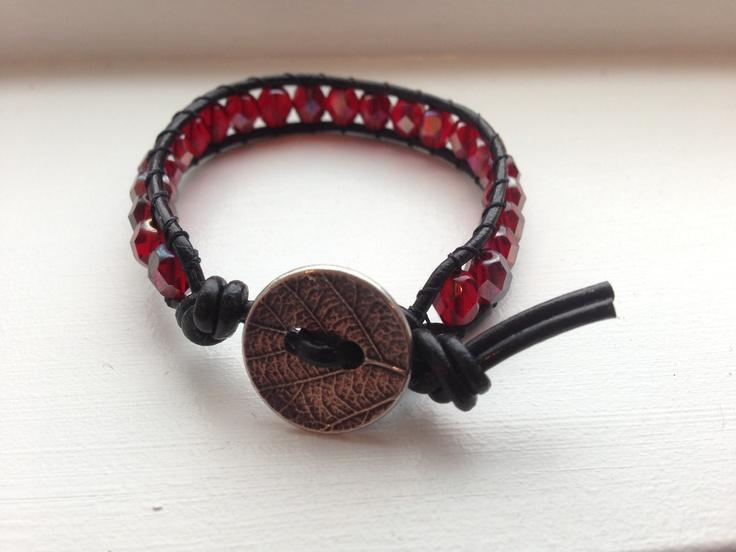 leather bracelet with Czech glass beads