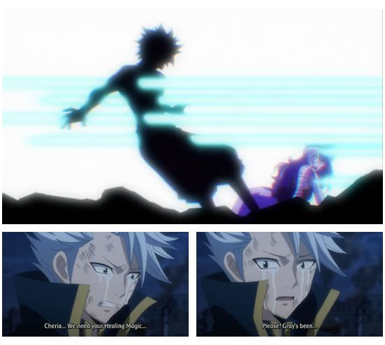 fairy tail 2014, episode 22, gray fullbuster death, lyon bastia crying, source: http://stella-scarlet.tumblr.com/