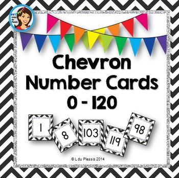 $ Number Cards / Number Line {0 - 120} Chevron and Glitter.There is just so much you can do with these cute number cards! - Create a number line for your wall - Play war - Add numbers - Subtract numbers - Round off numbers to the nearest 10 Included: Number cards 0 – 120 Basic operations signs: +, -, x, ÷, = Brackets: ( ) & [ ] Rounding off sign: ≈