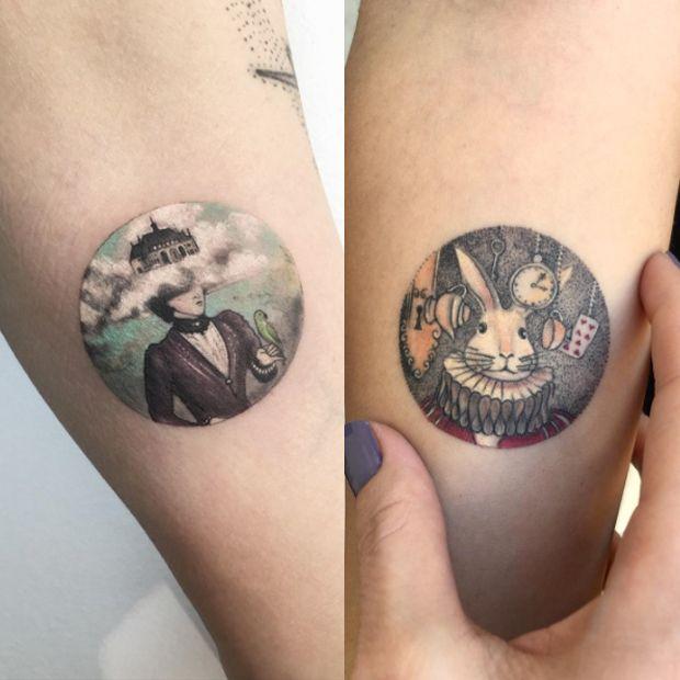 Tatuagens em forma de círculos, que contém belíssimos cenários e ilustrações