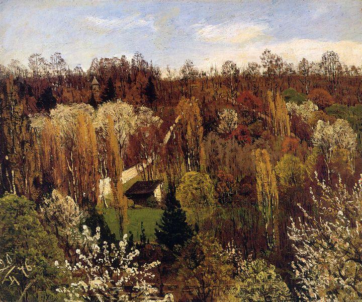 Spring Landscape, France 1876 - oil on canvas - Kevätmaisema, Ranska - öljy kankaalle - Ranska - Churberg, Fanny  (1845-1892) - Ateneumin taidemuseo