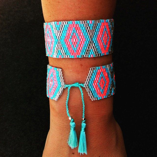 Bracelet manchette tissé avec des perles miyuki. de la boutique ByCausette sur Etsy